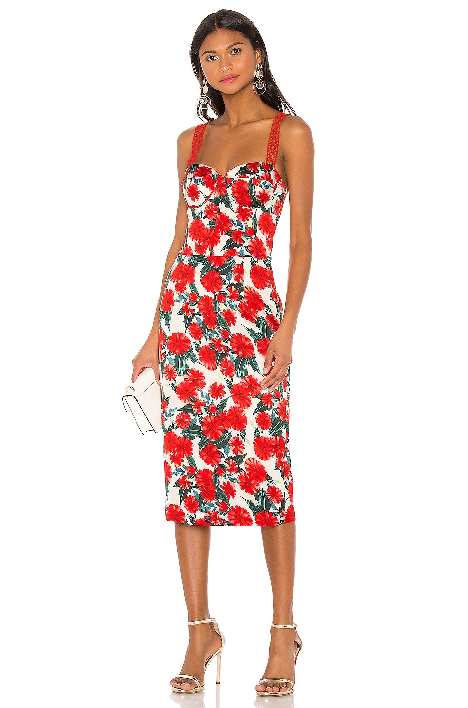 Bronx and Banco Ruby Pencil Dress in Red & White