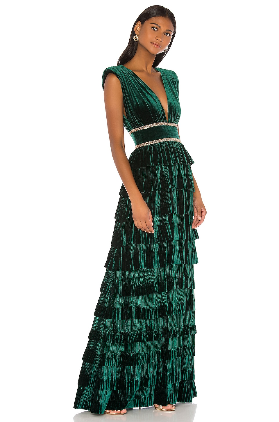 Bronx and Banco Velvet Flared Gown in Emerald