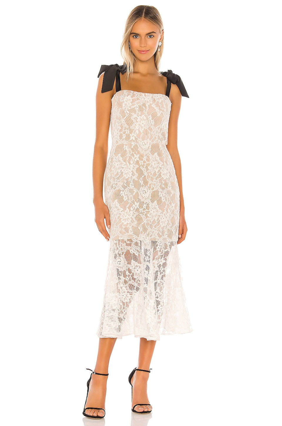 Bronx and Banco Willow Flared Midi Dress in White