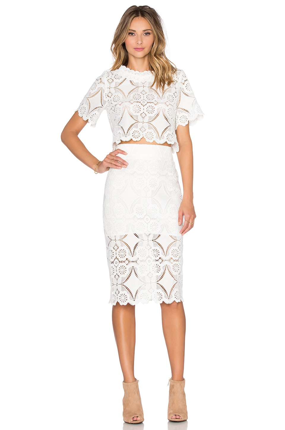 Bronx and Banco Georgia Lace Twin Set in White