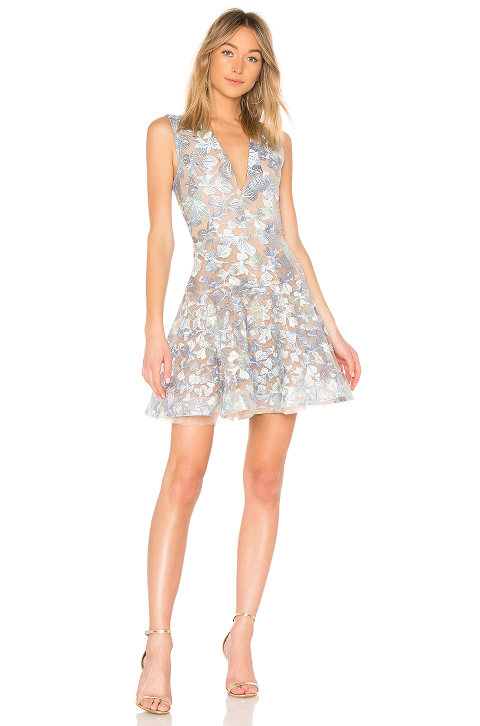 Bronx and Banco Butterfly Mini Dress in White & Blue