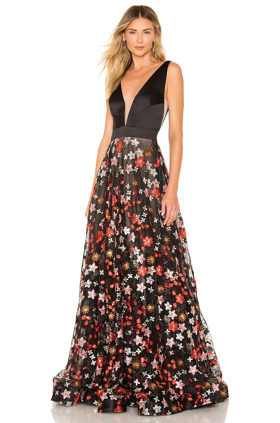 Bronx and Banco Embroidered Floral Gown in Multicolor