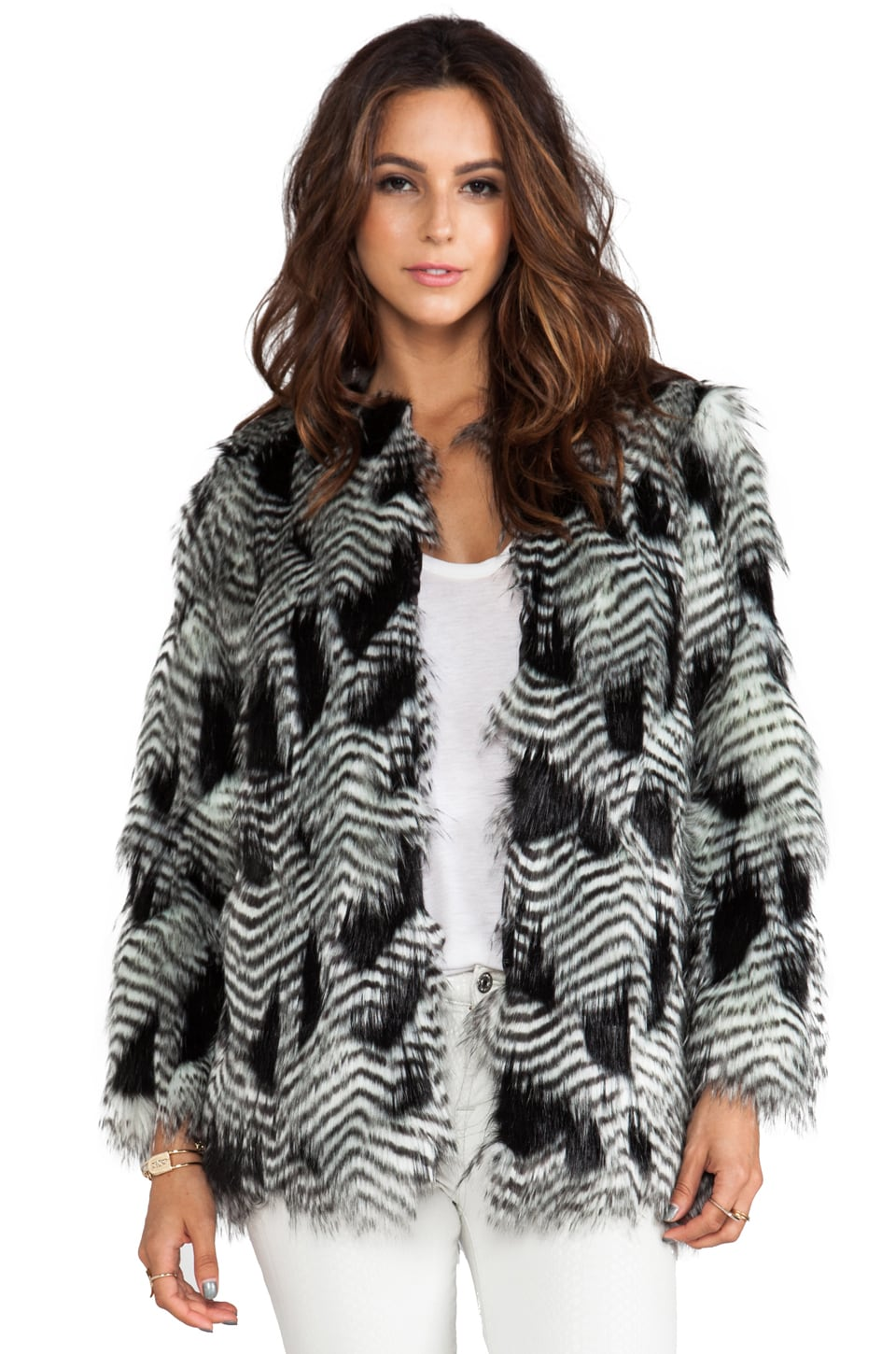 BSABLE Chelsea Faux Fur Jacket in Black Feather