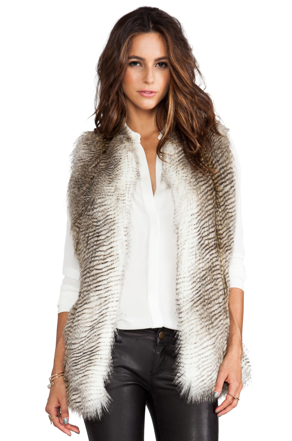 BSABLE Wendy Faux Fur Vest in Multi-Hawk