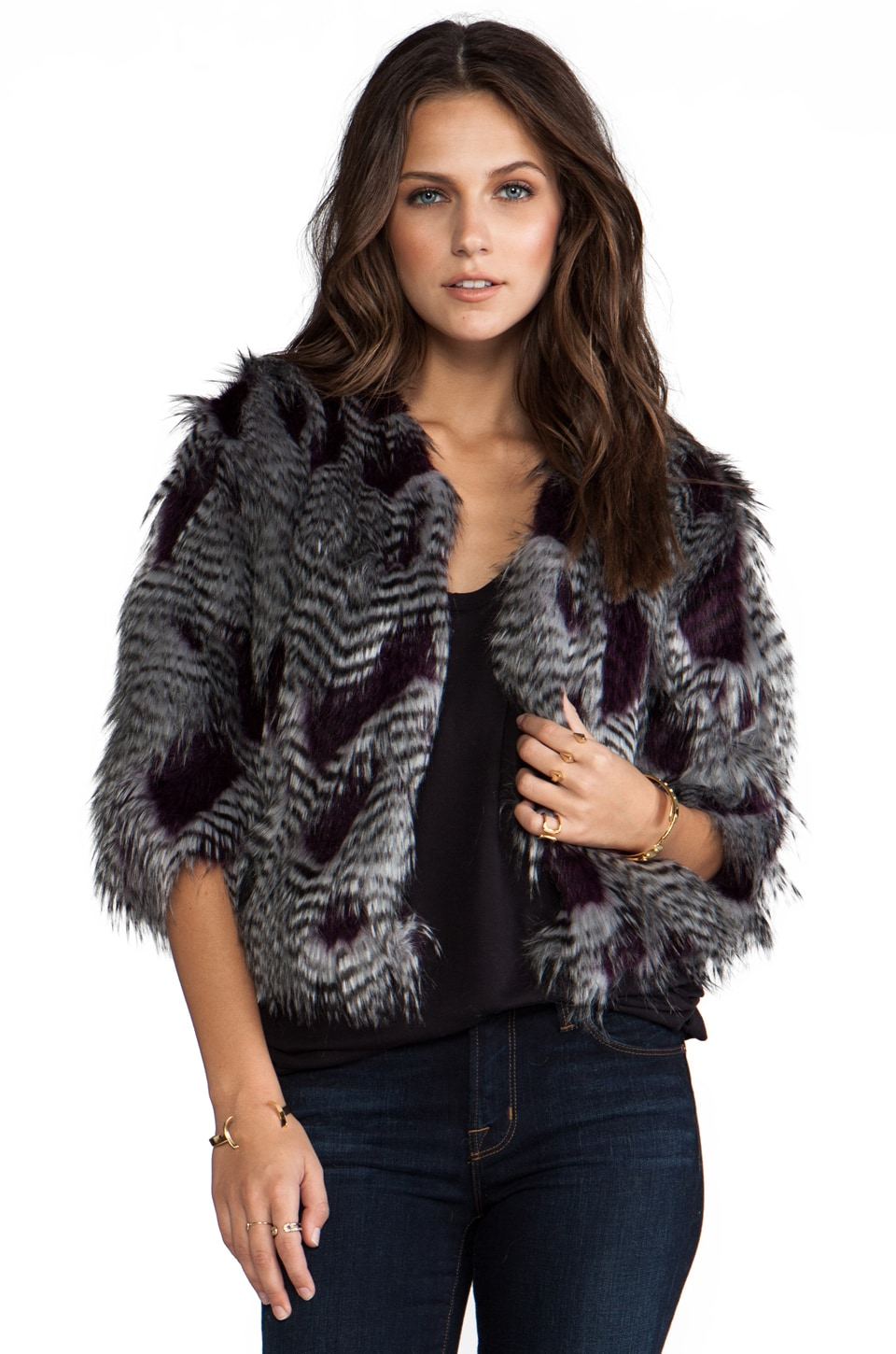 BSABLE Jennie Faux Fur Jacket in Burgundy Feather