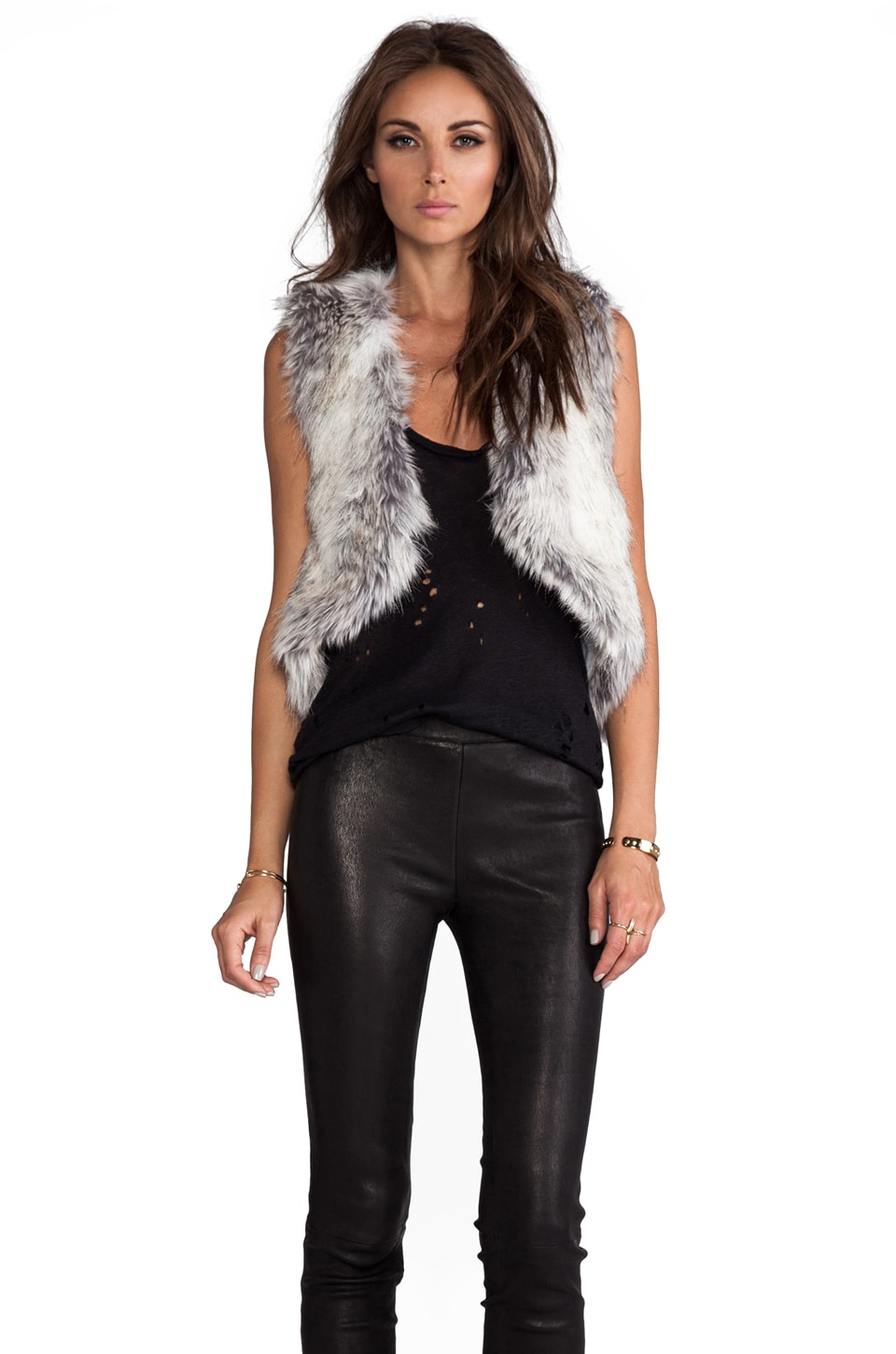 BSABLE Gina Faux Fur Vest in Stone Fox