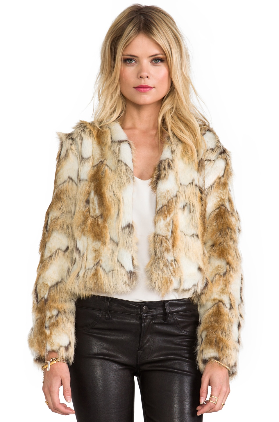 BSABLE Olivia Faux Fur Jacket in Brandy Gold