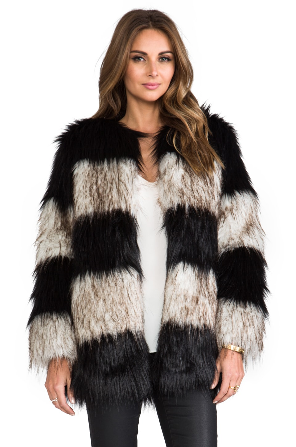 BSABLE Riri Faux Fur Jacket in Black/White Mix