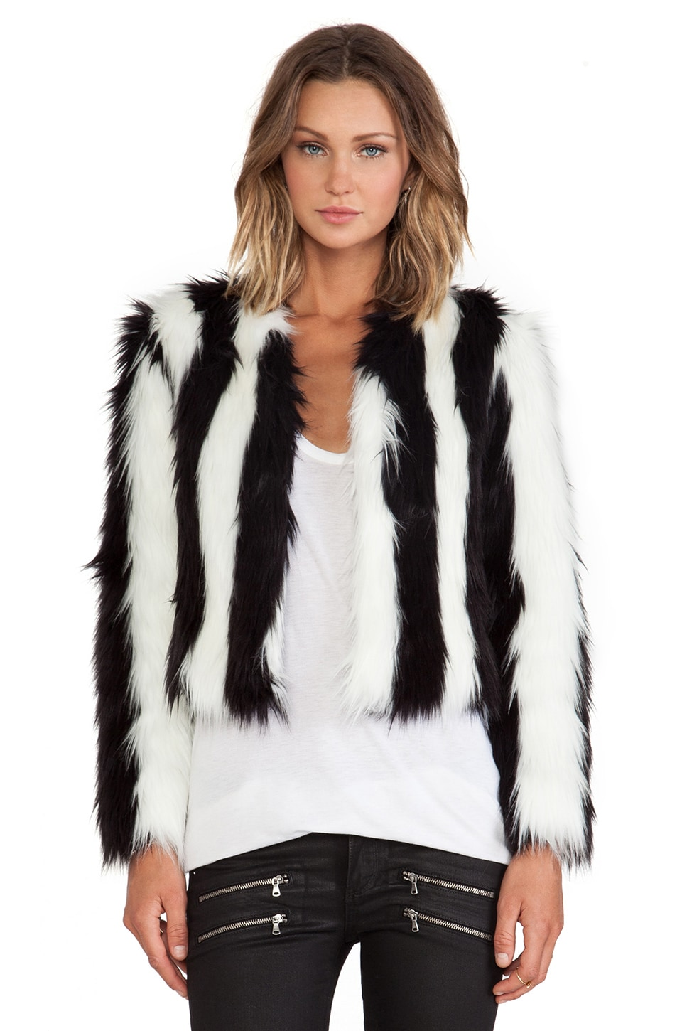 BSABLE Lauren Faux Fur Jacket in Black & White Stripe