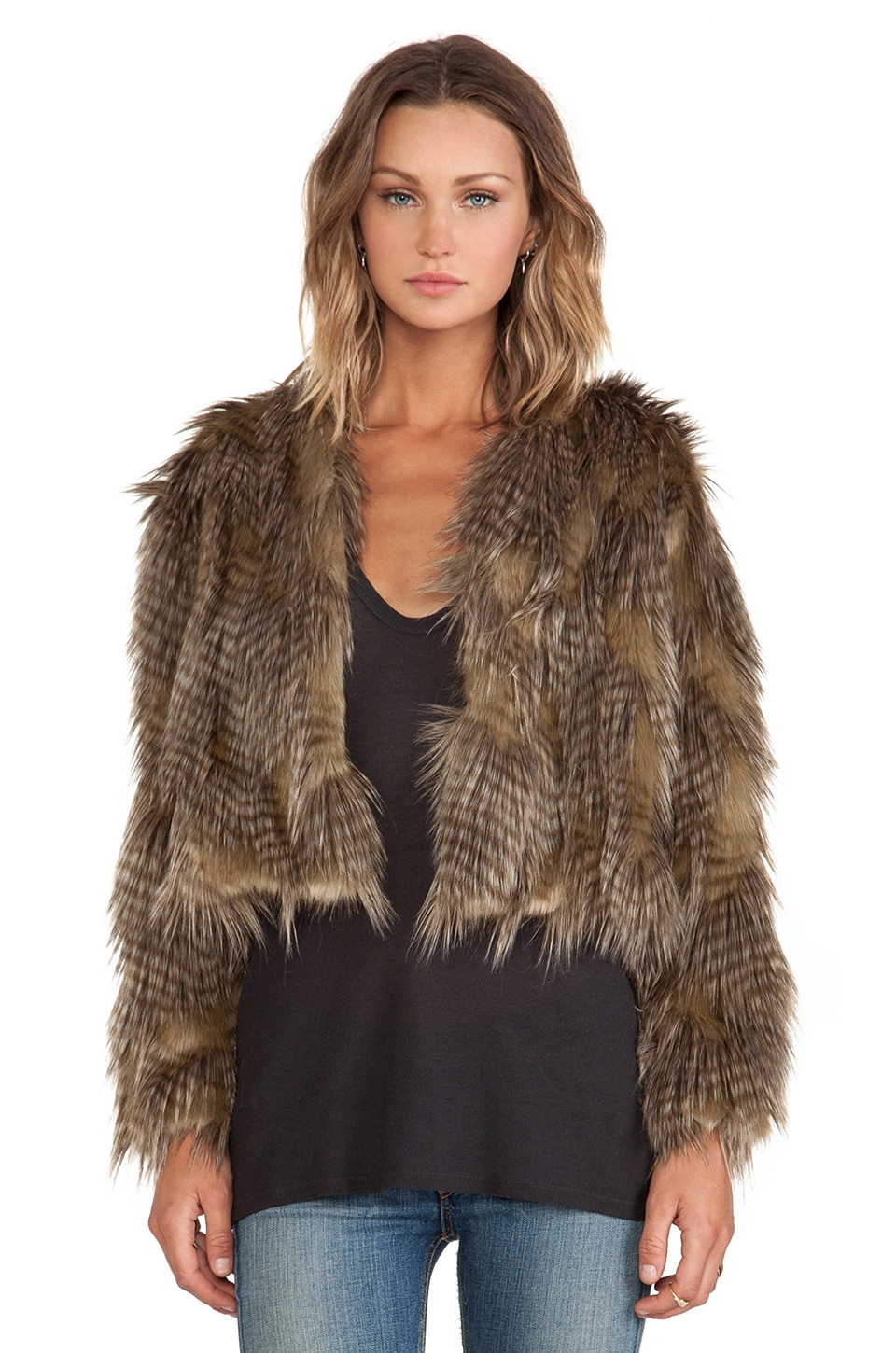 BSABLE Lauren Faux Fur Jacket in Golden Feather