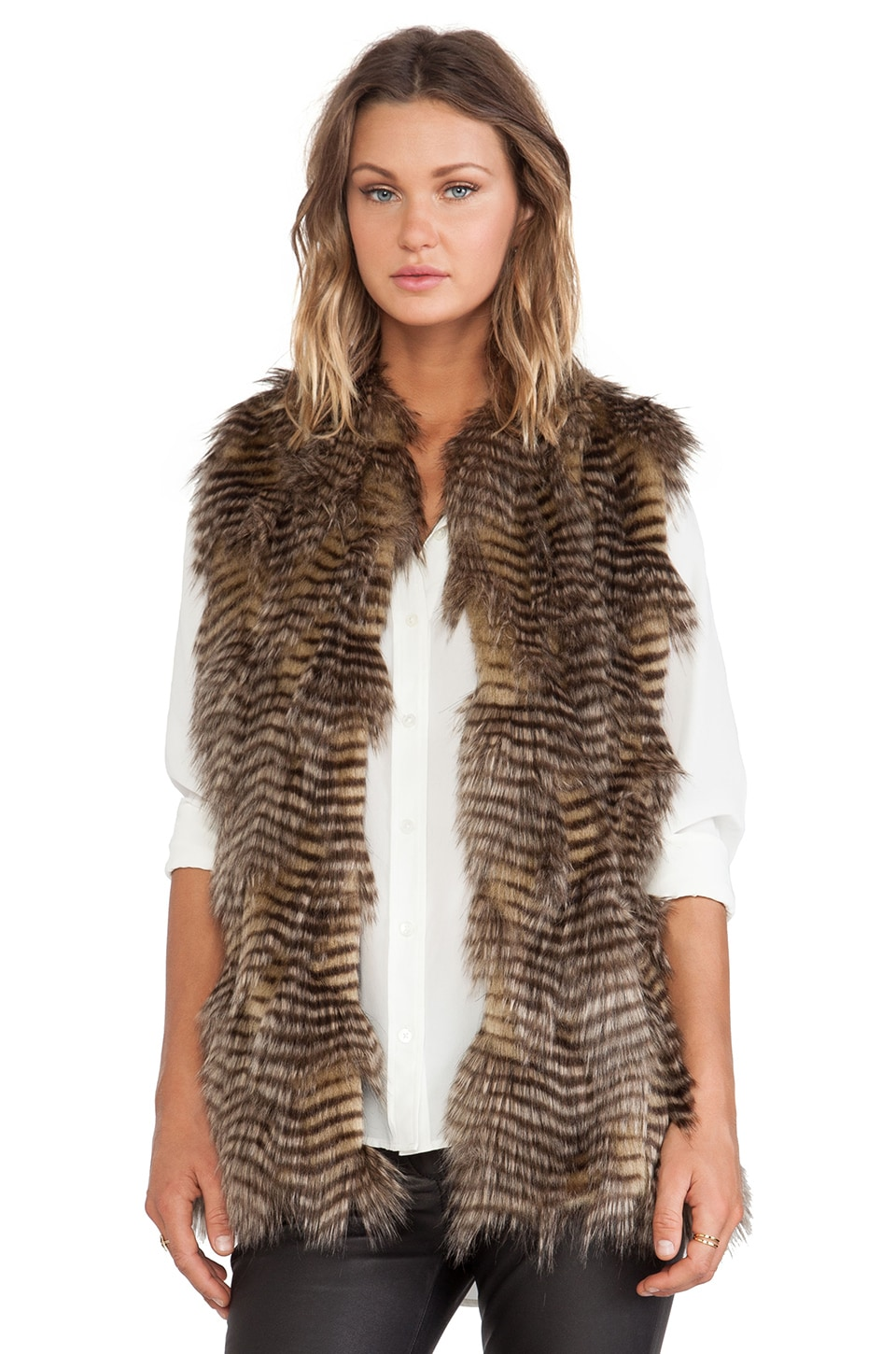 BSABLE Wendy Faux Fur Vest in Golden Feather