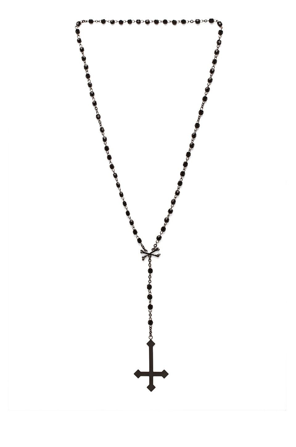 Black Scale Pietro Rosary Necklace in Black