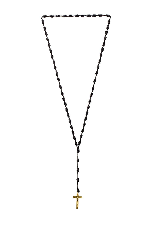 Black Scale Rosario Necklace in Gold