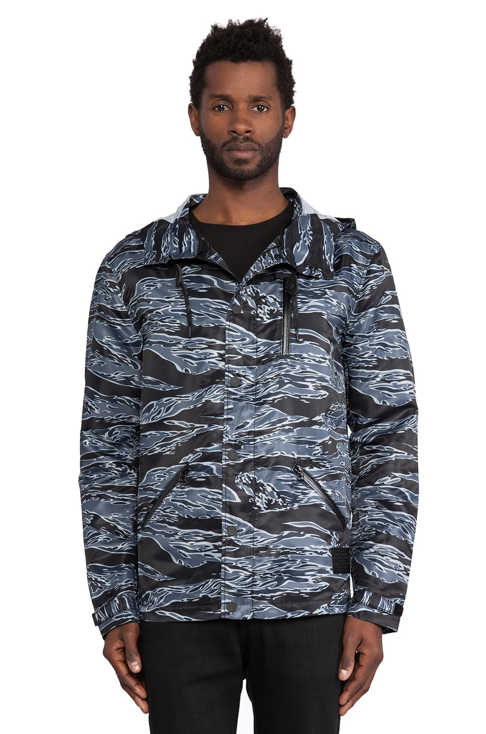 Black Scale Jungle Anorak in Black