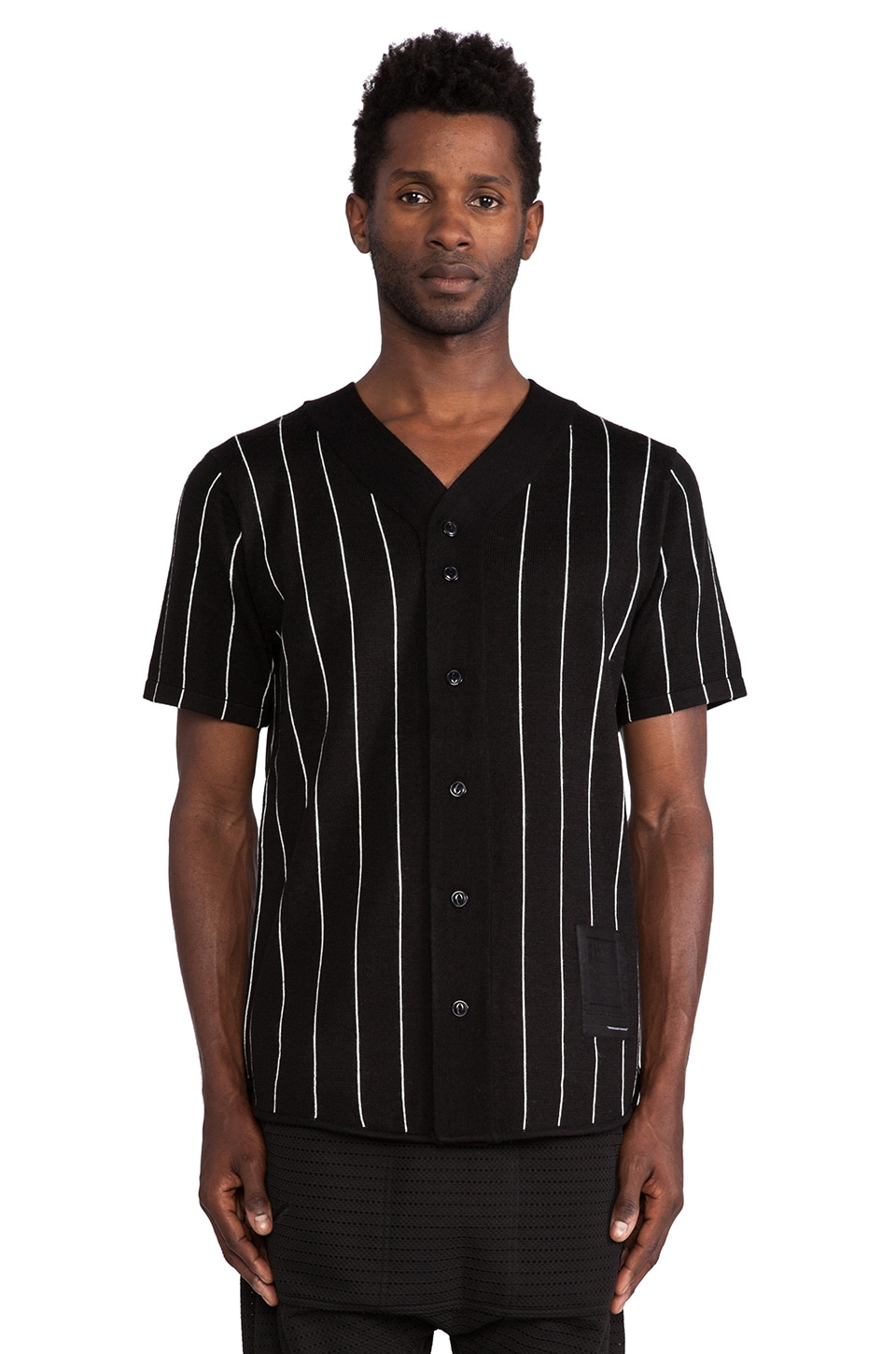 Black Scale La Soule Baseball Jersey in Black