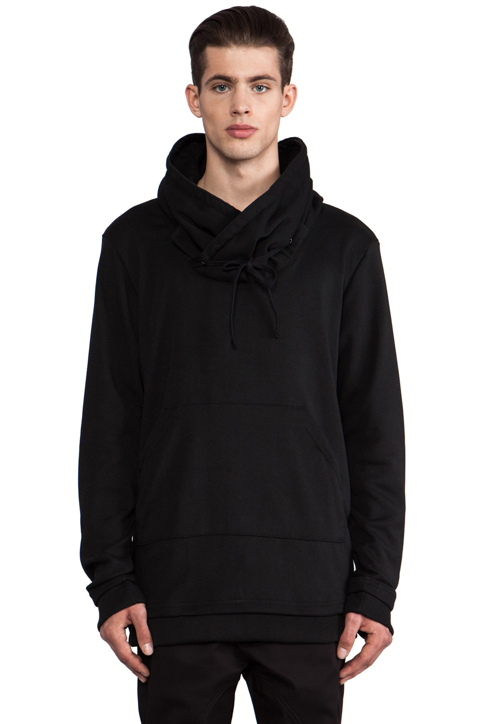 B:Scott Funnel Drawstring Pullover in Black