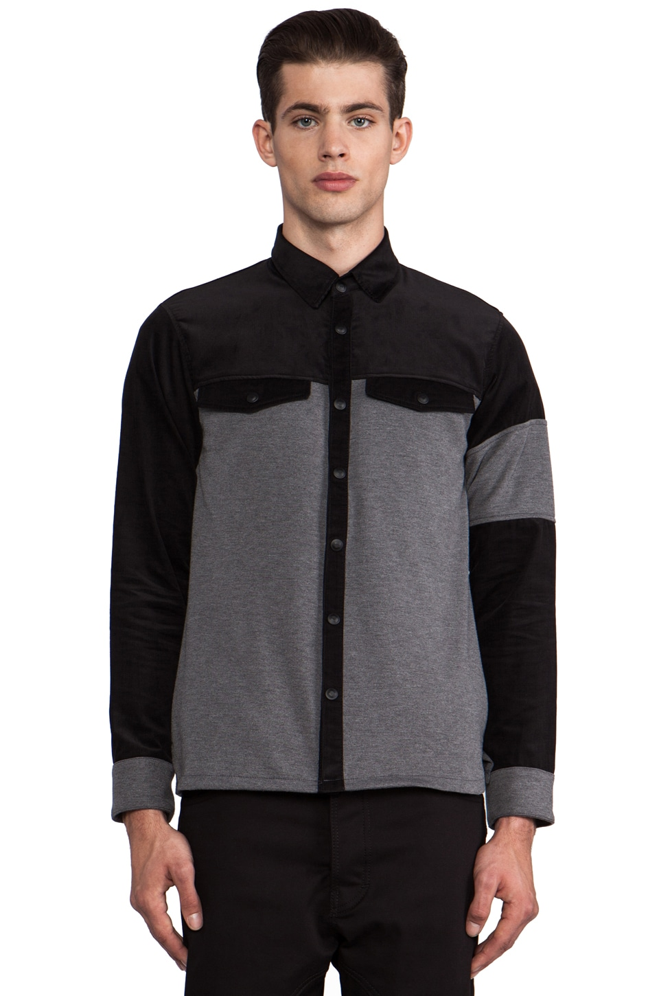 B:Scott Combo Shirt Jacket in Black/Charcoal