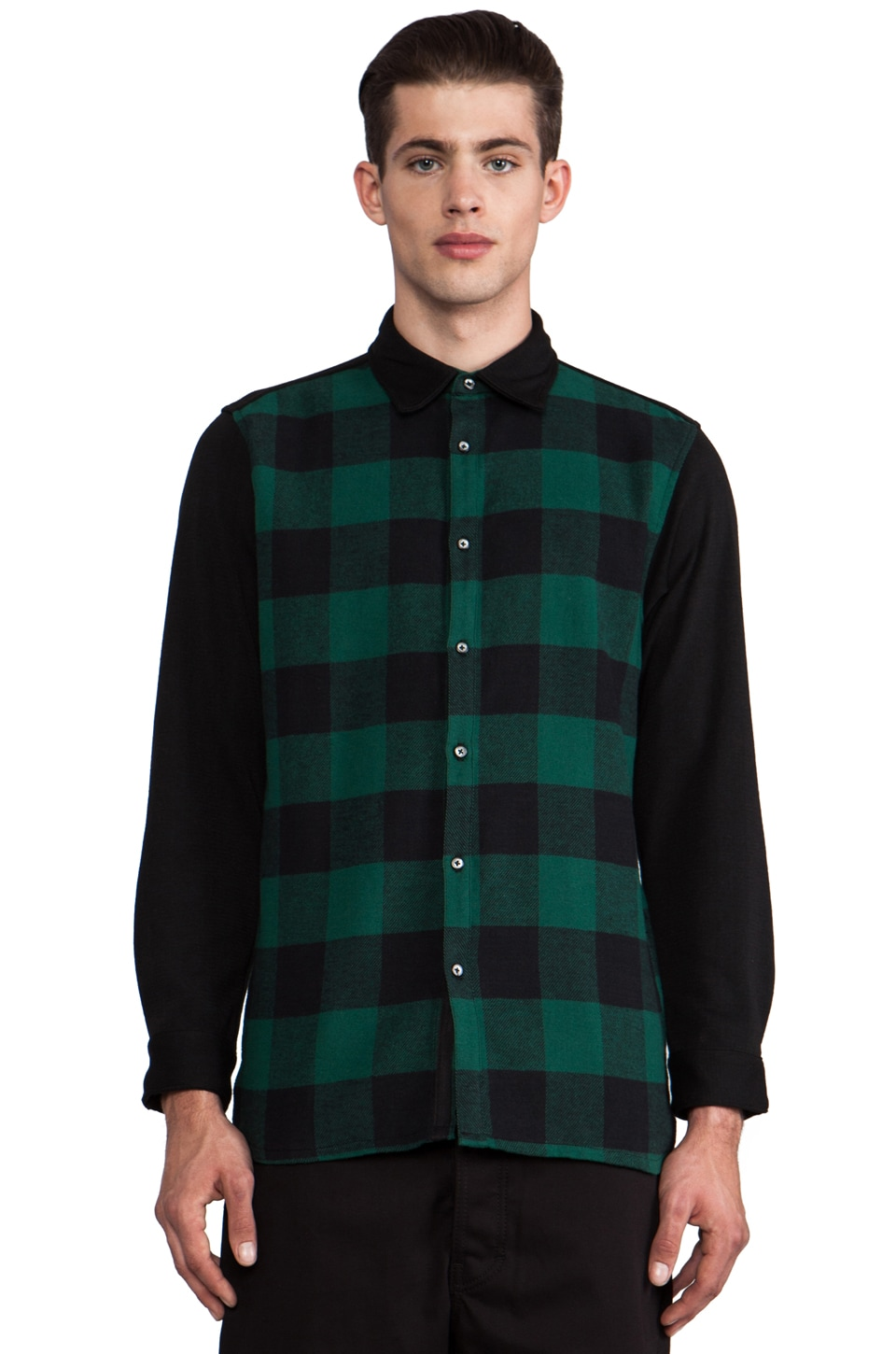 B:Scott Flannel Shirt Jacket in Green Plaid/Black