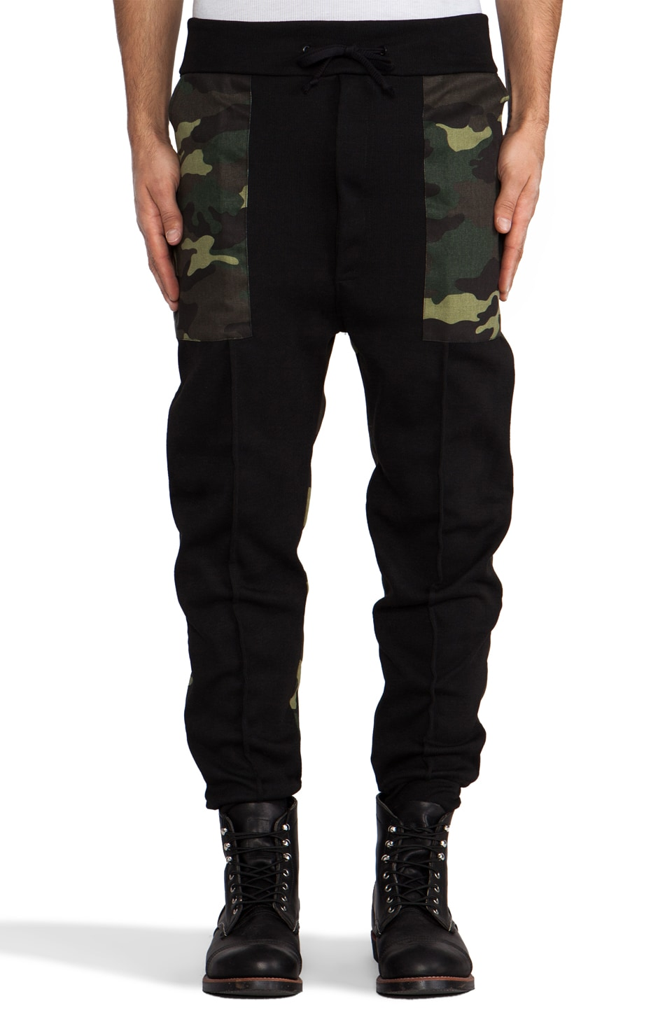 B:Scott Drop Crotch Sweatpant in Black & Camo