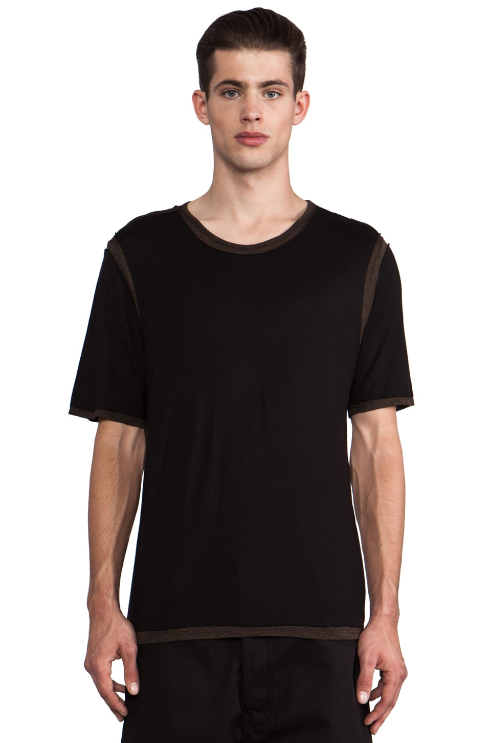 B:Scott Double Layer Tee in Brown/Black