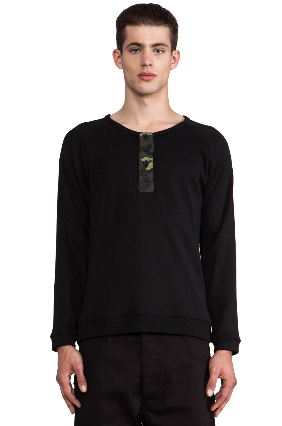 B:Scott Fabric Blocked Henley in Black/Camo