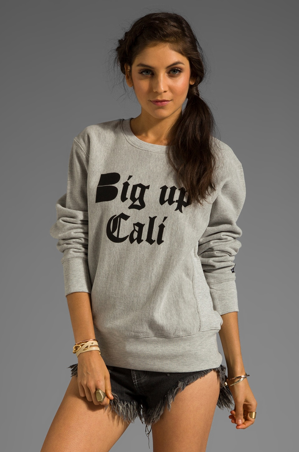 B-side by Wale Big Up Cali Sweatshirt in Heather Grey/Black