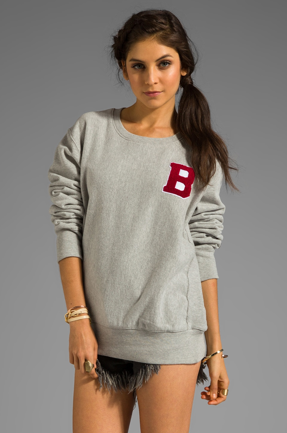 B-side by Wale 95 Sweatshirt in Heather Grey/Red
