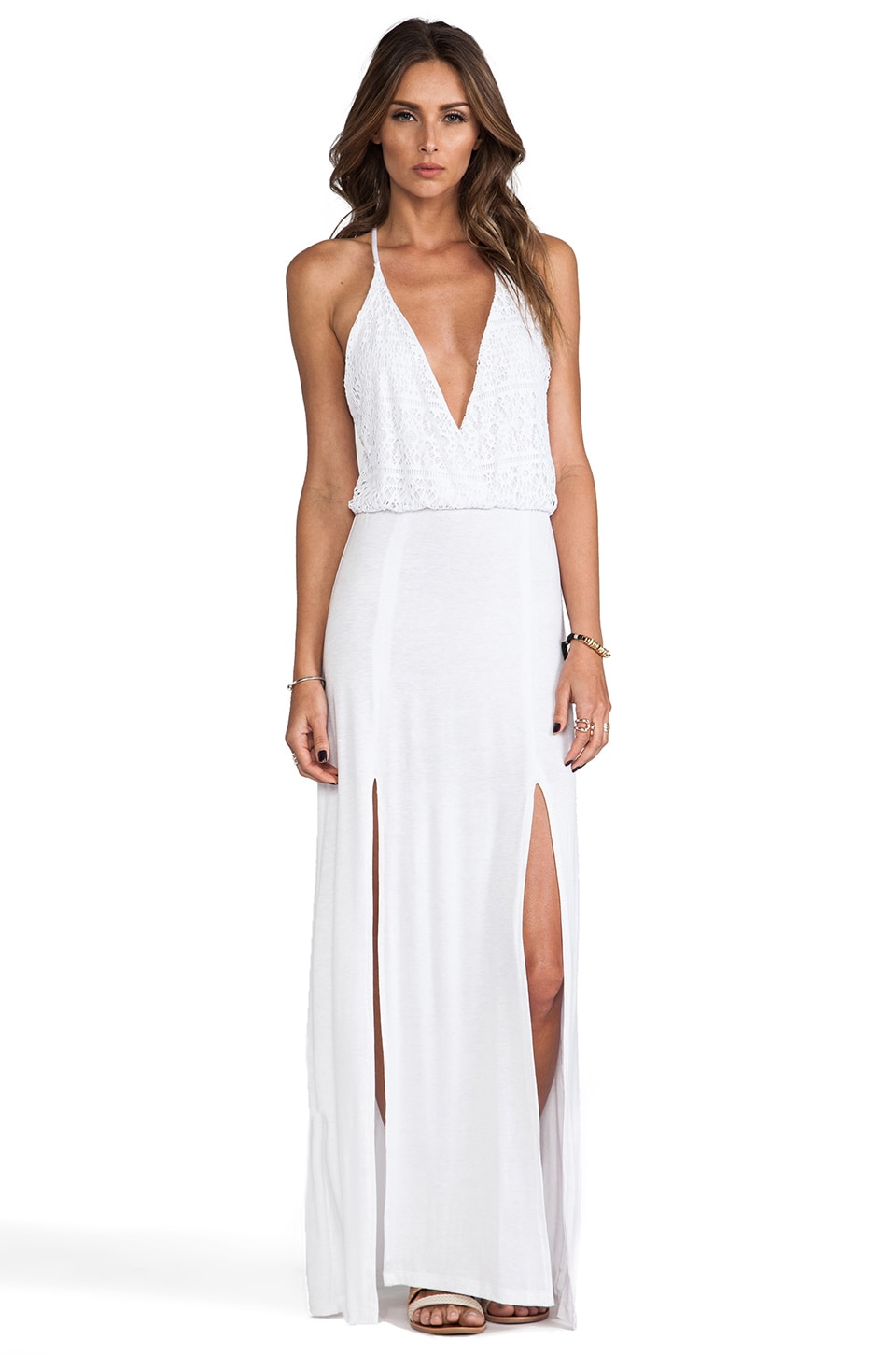 Bettinis Crochet Maxi Dress in White Wash