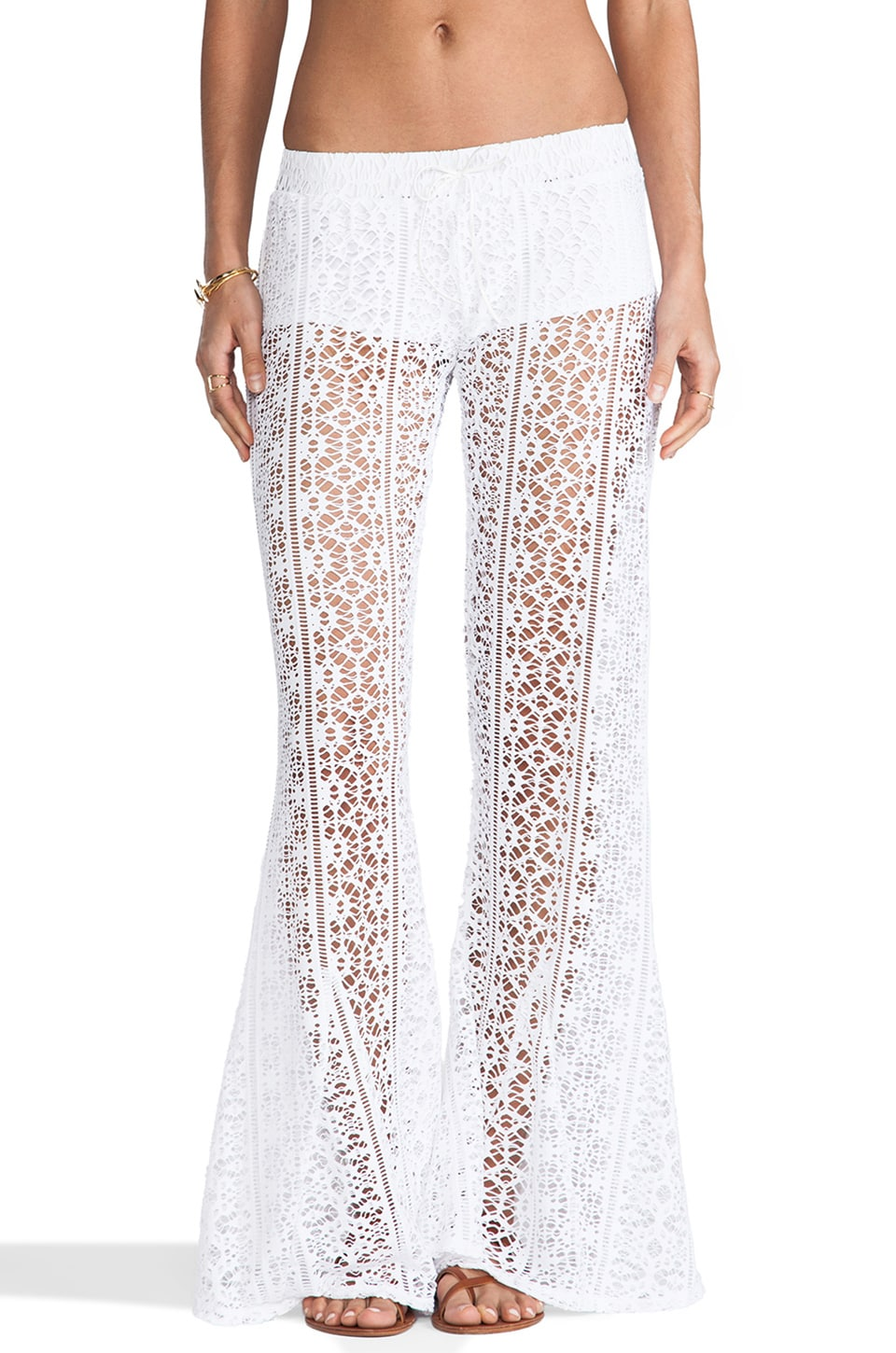 Bettinis Crochet Flare Pants in White Wash