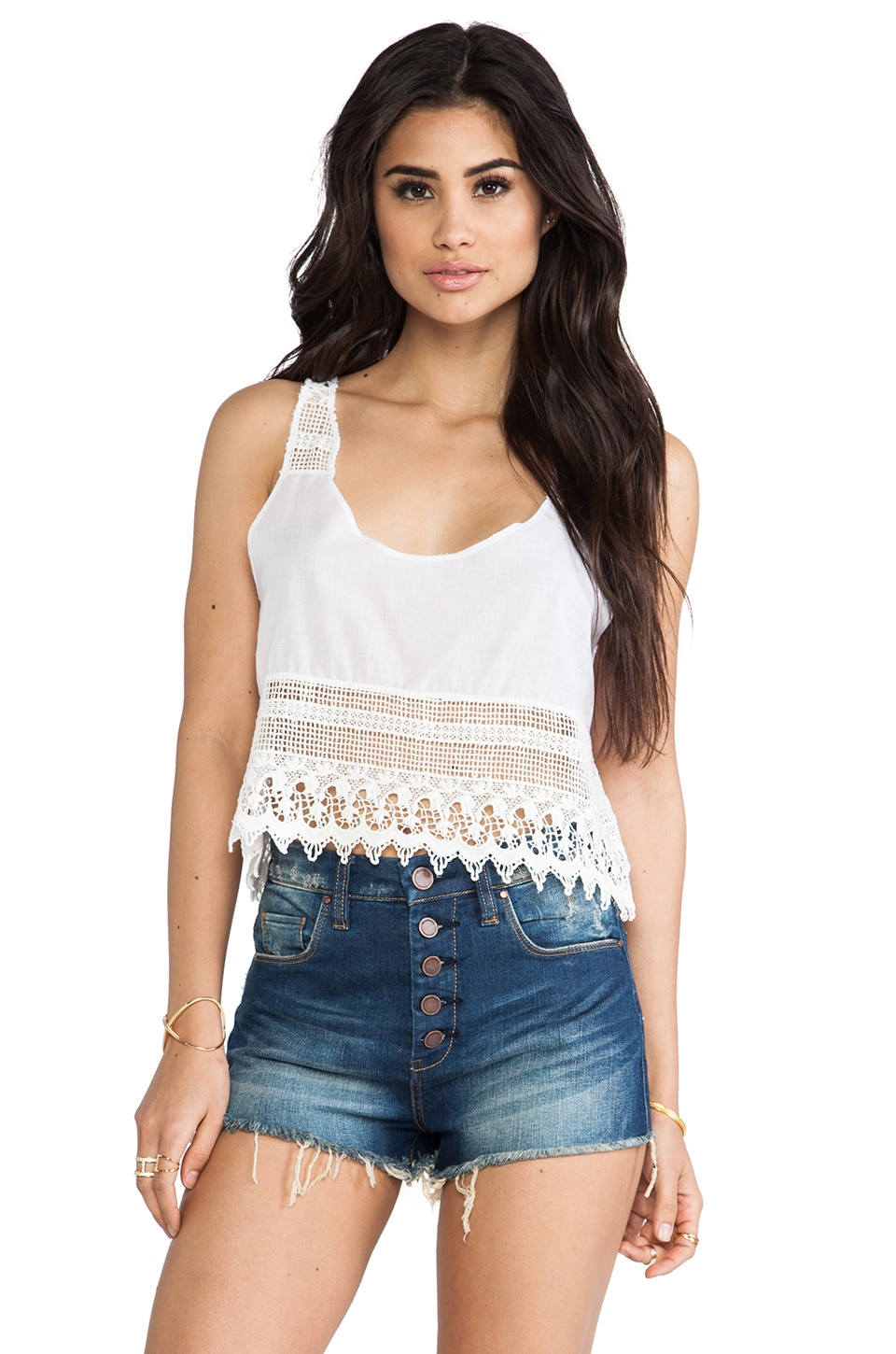 Bettinis Lace Crop Top in White Wash