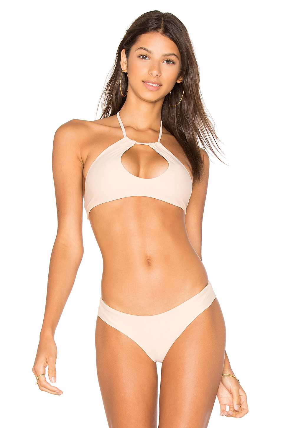 Bettinis Key Hole Halter Top in Nude