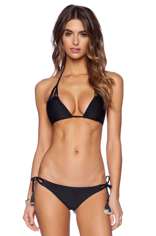 Bettinis Strappy Triangle Bikini Top in Black