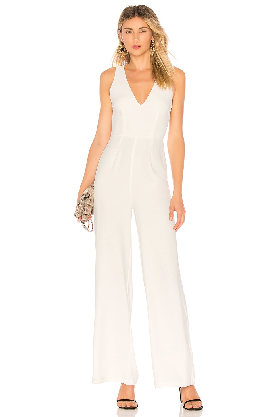 by the way. Carmela Deep V Wide Leg Backless Jumpsuit in White