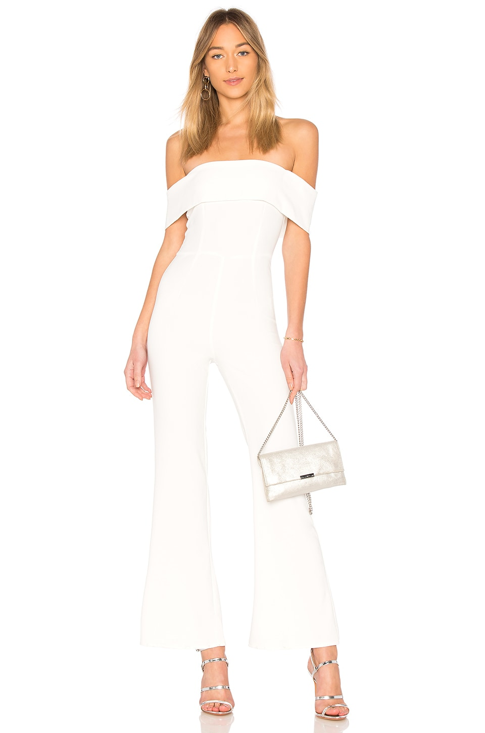 superdown Aubrey Off Shoulder Jumpsuit in White