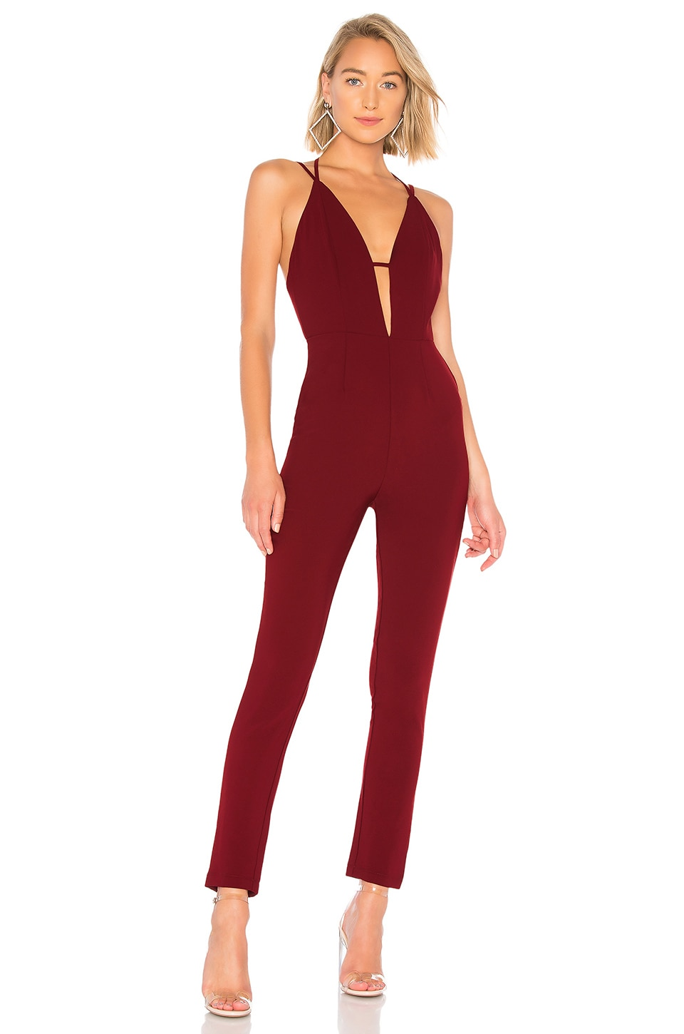 by the way. Leah Strappy Plunge Jumpsuit in Wine Red