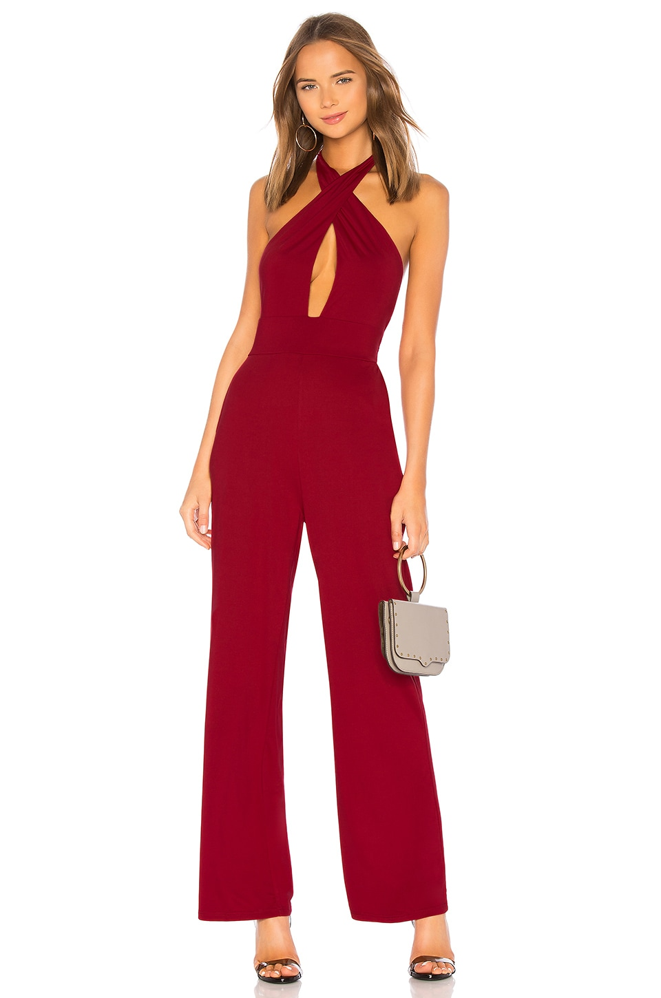 by the way. Riri Cross Front Jumpsuit in Burgundy