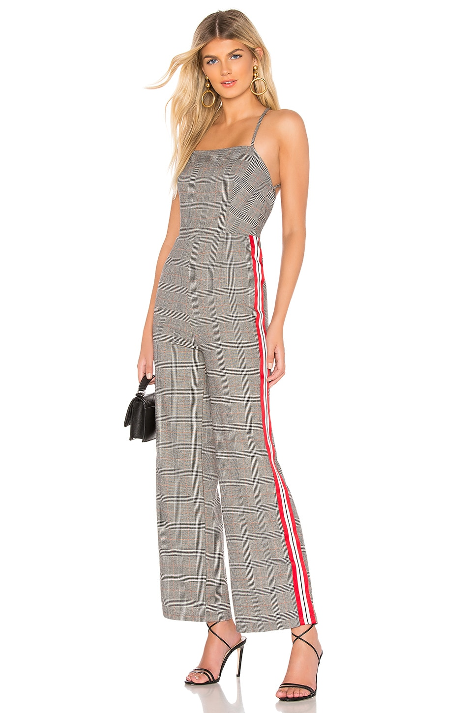 by the way. Madison Tie Back Jumpsuit in Grey Plaid