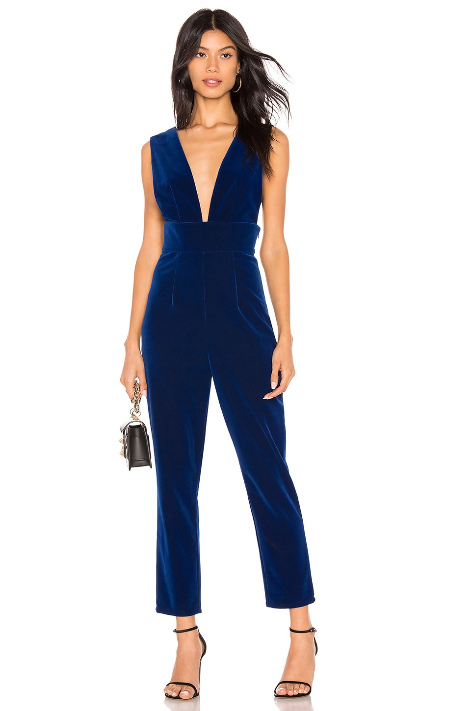by the way. Gloria Deep V Velvet Jumpsuit in Royal Blue