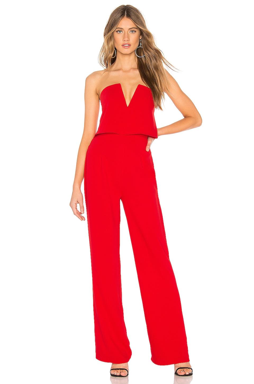 superdown Hara Strapless Jumpsuit in Red