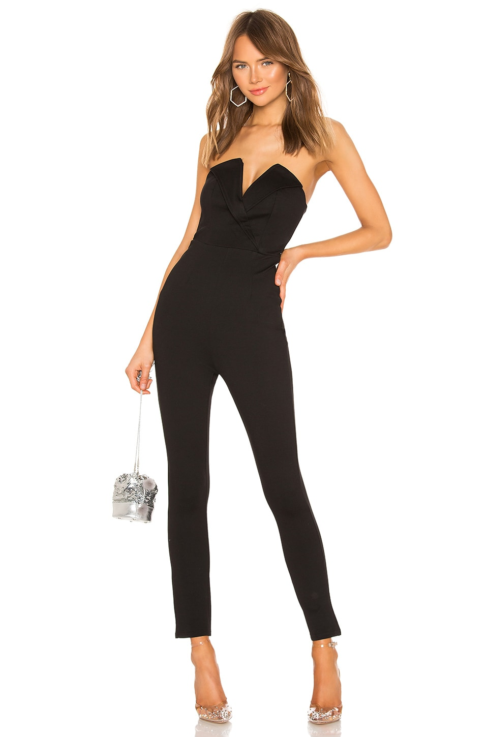 superdown Madi Strapless Jumpsuit in Black