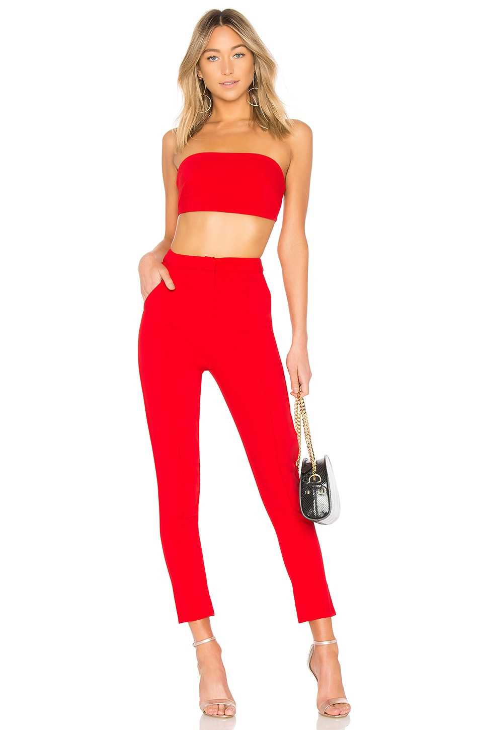 superdown Remy Bandeau Pant Set in Red