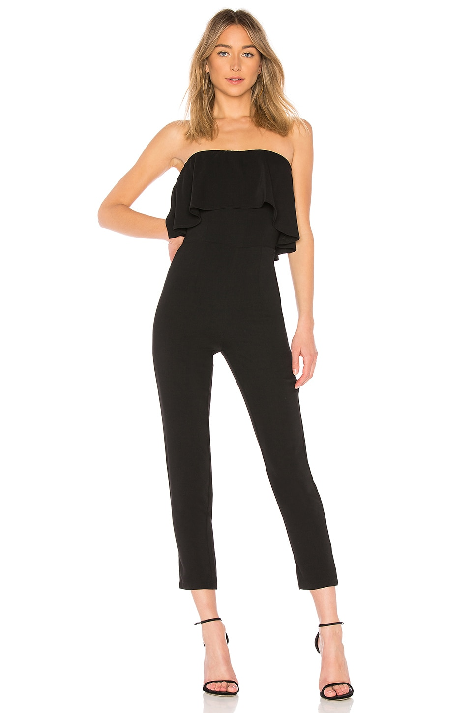superdown Reina Ruffle Jumpsuit in Black