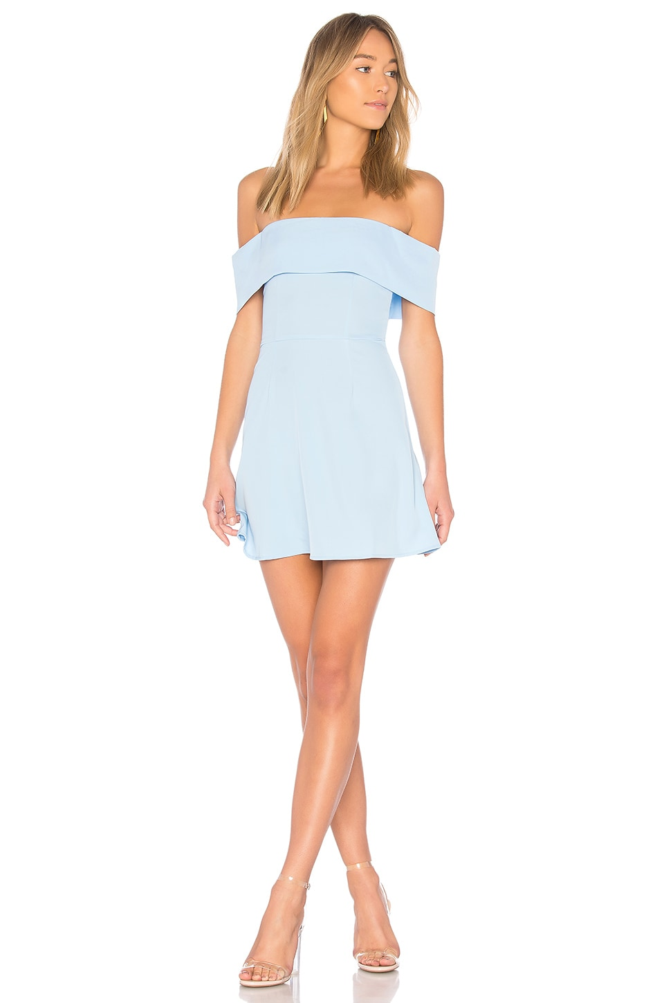superdown Aubrey Off Shoulder Dress in Light Blue
