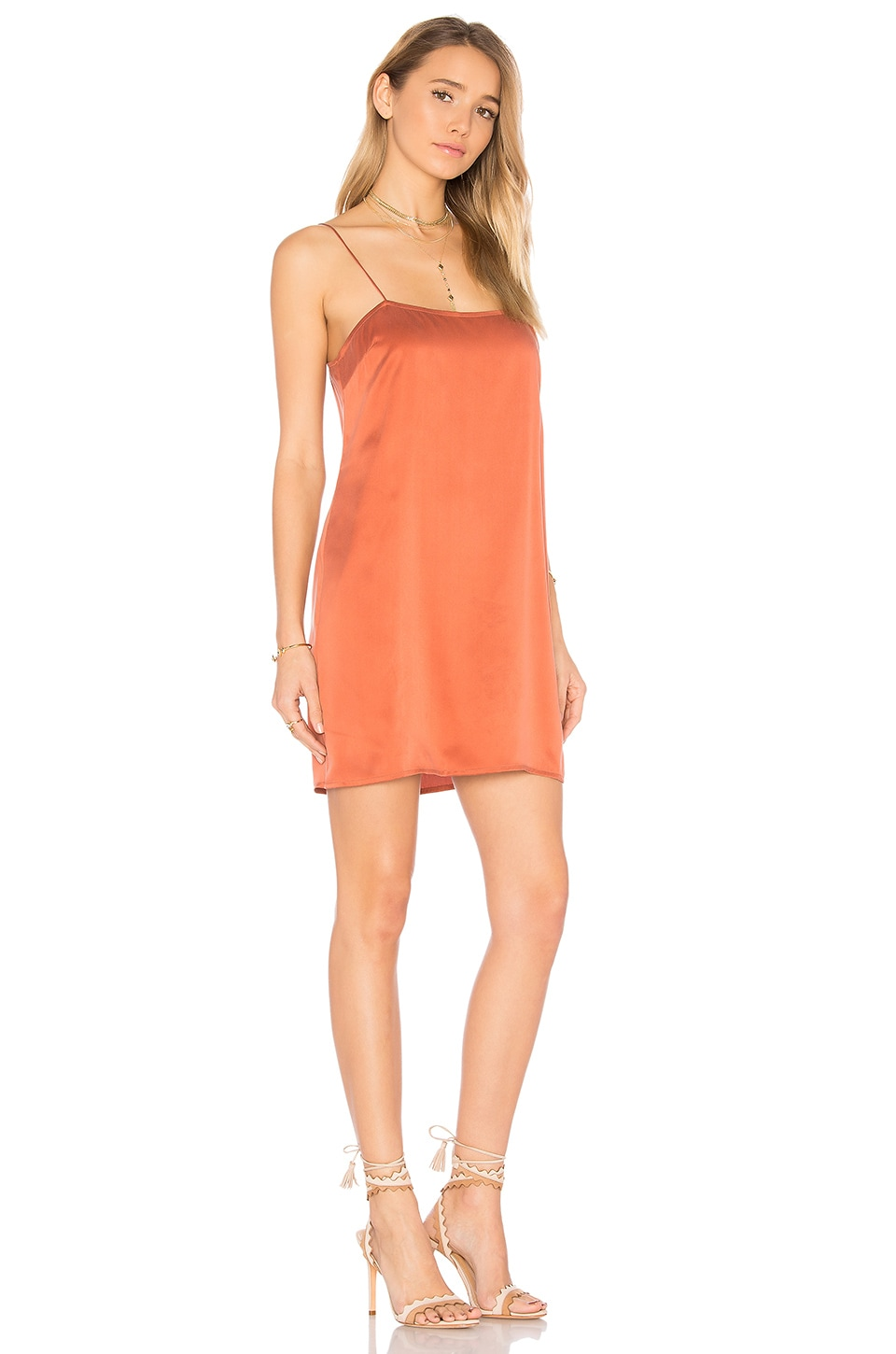 by the way. Holden Silk Slip Dress in Terracotta