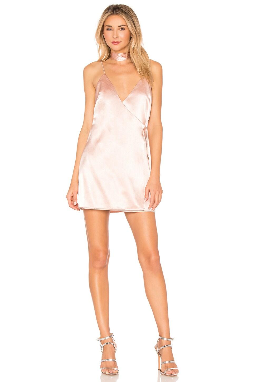 by the way. Brandy Satin Wrap Dress in Blush