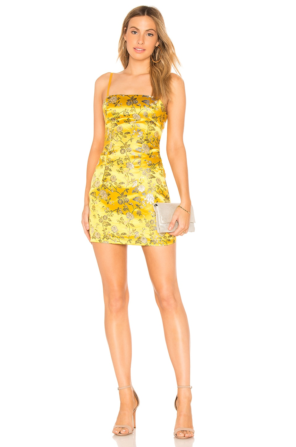 by the way. Amanda Floral Brocade Dress in Yellow Multi