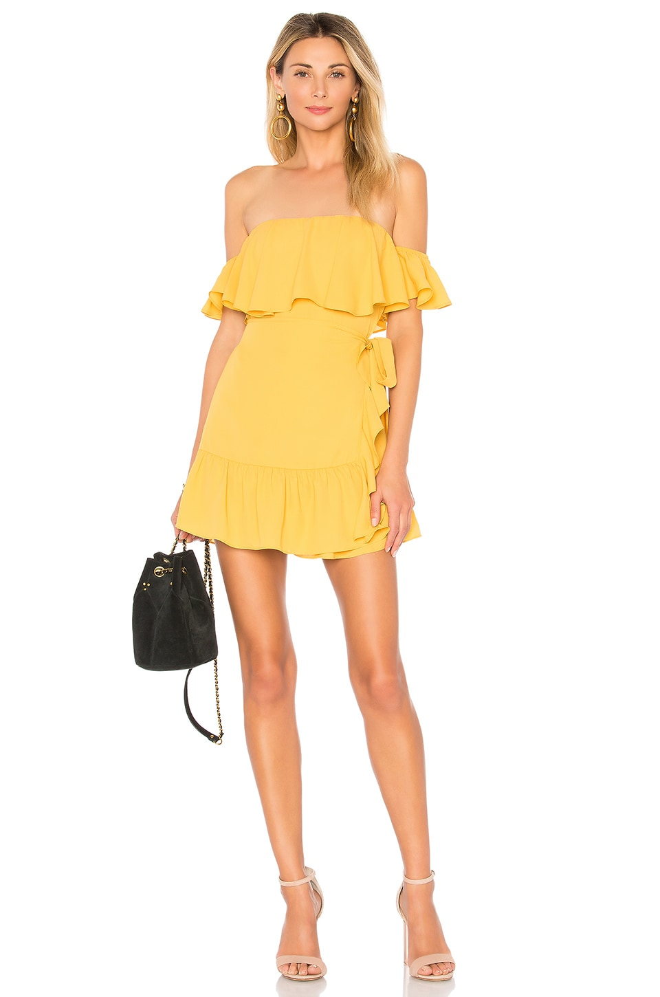 superdown Jolene Ruffle Wrap Dress in Marigold