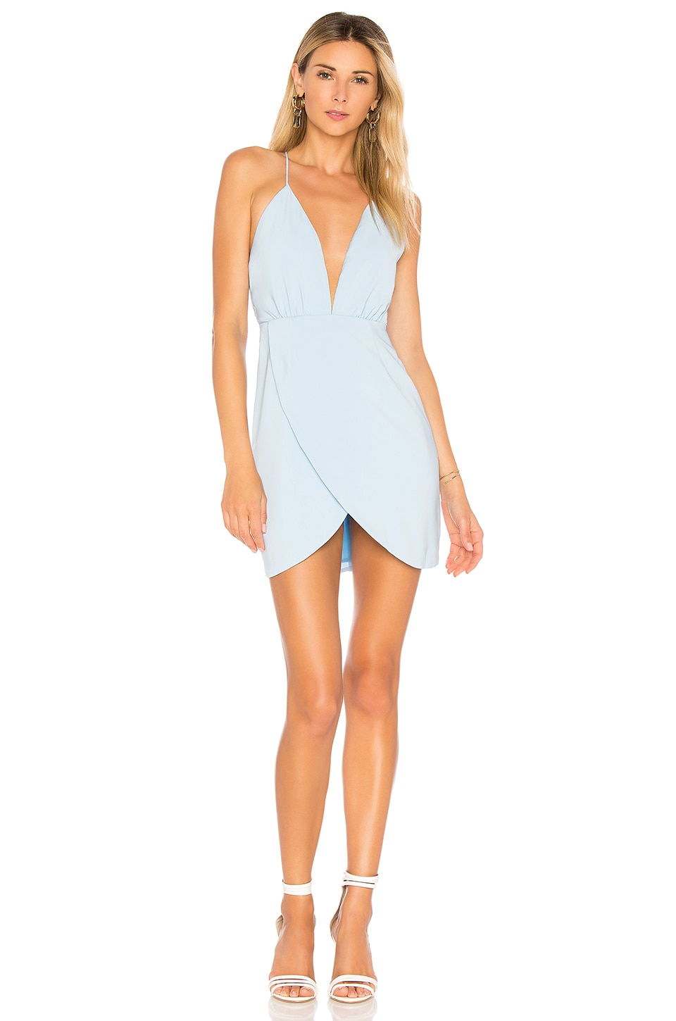 superdown Vivian Deep V Dress in Light Blue
