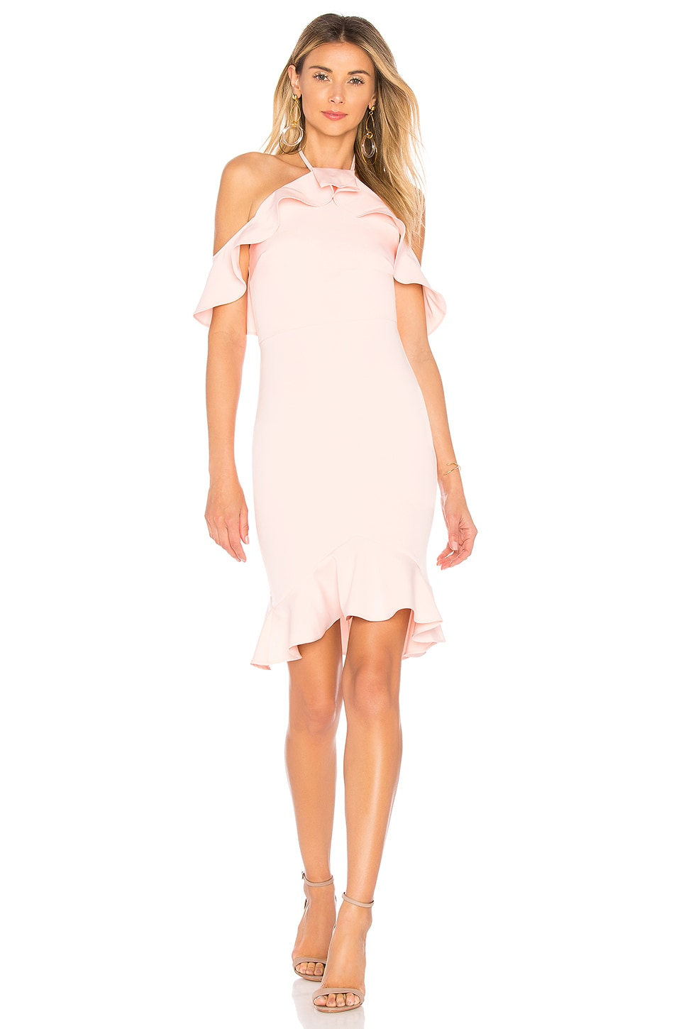 by the way. Natalia Ruffle Halter Dress in Blush