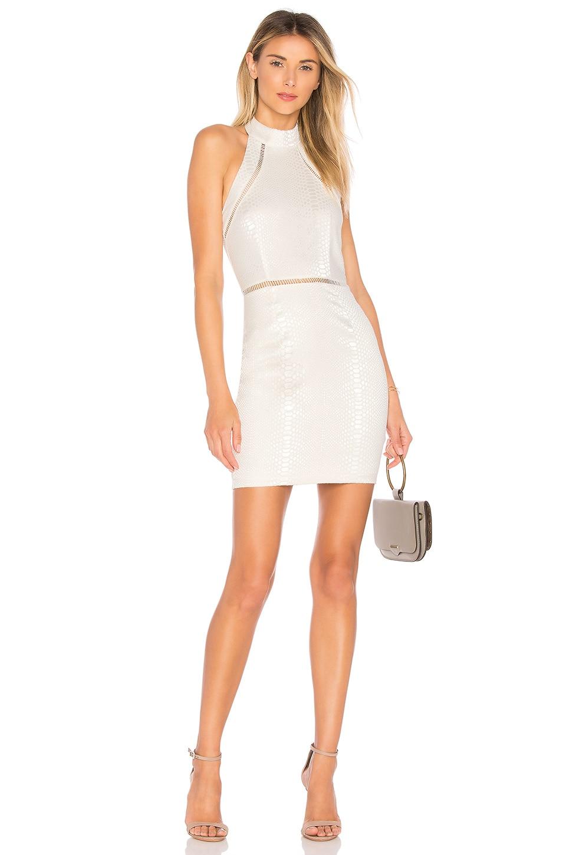 superdown Bailey Snakeskin Dress in White